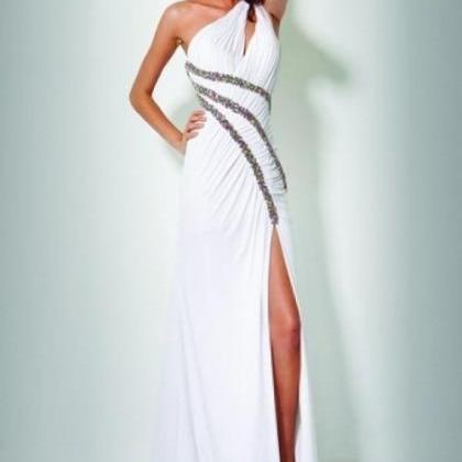 One-Shoulder Sheath/Column Beading Floor-length Chiffon Prom Dress