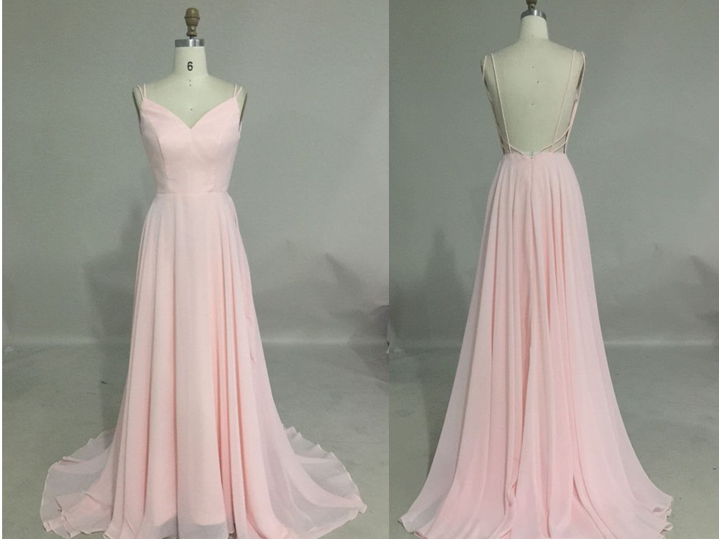 Pink sexy open back cheap chiffon bridesmaid dresses for Cheap wedding guest dresses